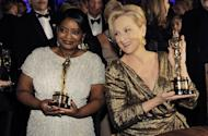 "Octavia Spencer with the Oscar for best actress in a supporting role for ""The Help"", left, and Meryl Streep with the Oscar for best actress in a leading role for ""The Iron Lady"" pose at the Governors Ball following the 84th Academy Awards on Sunday, Feb. 26, 2012, in the Hollywood section of Los Angeles. (AP Photo/Chris Pizzello)"