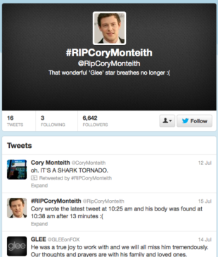 Cory Monteiths Death   How Glee Fans Responded Via Social Media image screen shot 2013 07 20 at 8 09 53 pm