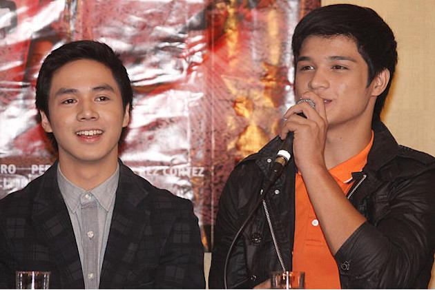 """Sam Concepcion and Hiro Magalona at the press conference of """"Shake, Rattle and Roll 13"""" held at the Imperial Palace Suites in Quezon City. (Jerome Ascano, NPPA Images)"""