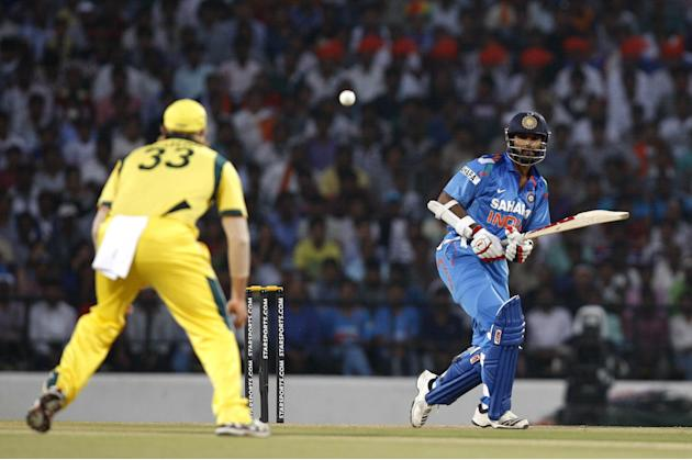 Shikhar Dhawan in action during the 6th ODI between India and Australia at Vidarbha Cricket Association Stadium, Jamtha in Nagpur on Oct.30, 2013. (Photo: IANS)