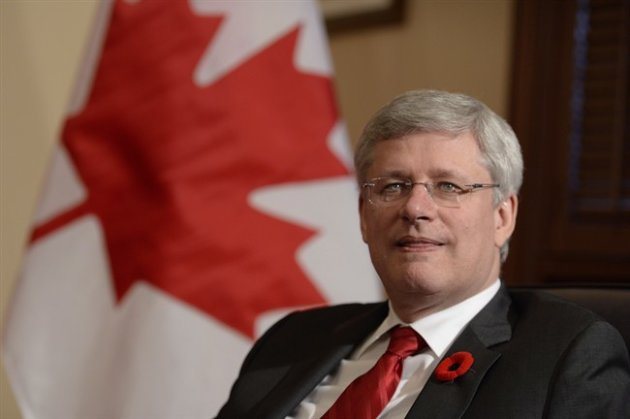 Prime Minister Stephen Harper is shown in his office Friday October 31, 2014 in Ottawa. (CP)