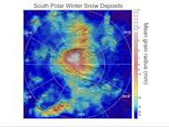 Observations by NASA's Mars Reconnaissance Orbiter have detected carbon-dioxide snow clouds on Mars and evidence of carbon-dioxide snow falling to the surface. Deposits of small particles of carbon-dioxide ice are formed by snowfall from carbo