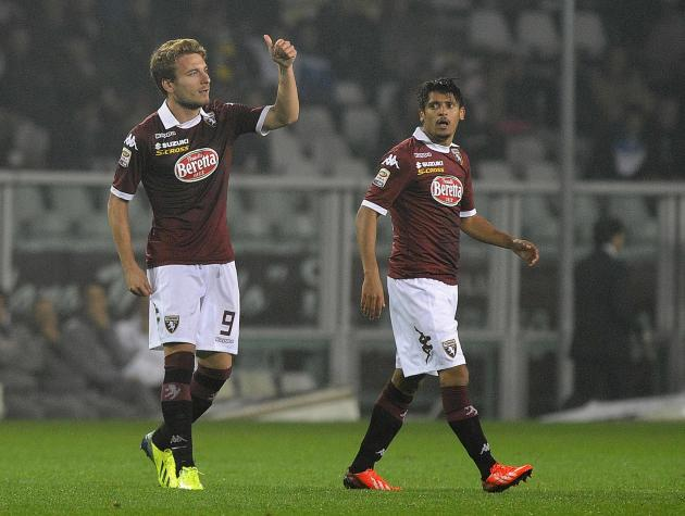 Torino's Immobile celebrates after scoring against Inter Milan during their Italian Serie A soccer match at the Olympic stadium in Turin