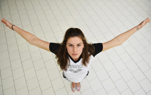Belgian swimmer Fanny Lecluyse poses aft