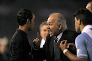 Argentina's coach Alejandro Sabella (C) argues with linesman Jorge Urrego over an offside call during the Argentina vs Colombia FIFA World Cup Brazil 2014 qualifying match at the Monumental stadium in Buenos Aires on June 7, 2013. The match ended 0-0