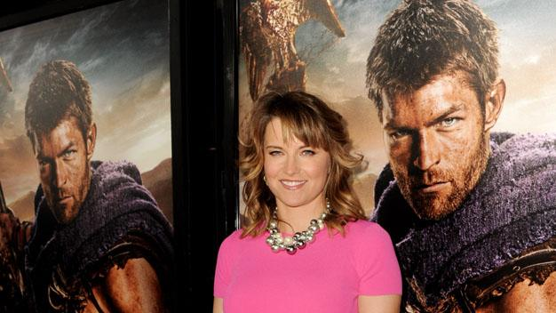 """Premiere Of Starz's """"Spartacus: War Of The Damned"""" - Red Carpet: Lucy Lawless"""