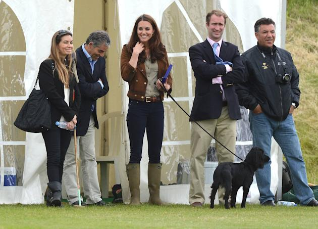 Catherine, Duchess of Cambridge aka Kate Middleton with her dog Lupo at the Golden Metropolitan Polo Club Charity Cup held at Beaufort Polo Club Tetbury, England - 17.06.12 **Not Available for Publica