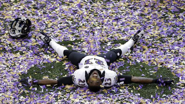 Baltimore Ravens defensive back Chykie Brown (23) celebrates after the NFL Super Bowl XLVII football game against the San Francisco 49ers, Sunday, Feb. 3, 2013, in New Orleans. The Ravens won 34-31. (AP Photo/Charlie Riedel)