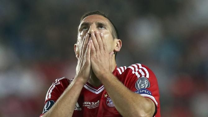 Munich's Ribery reacts during their UEFA Super Cup soccer match against Chelsea at Eden stadium in Prague