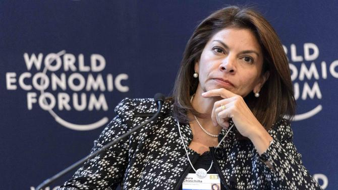 Costa Rica's President Laura Chinchilla listens during a panel session of the 43rd Annual Meeting of the World Economic Forum, WEF, in Davos, Switzerland, Thursday, Jan. 24, 2013.  (AP Photo/Keystone/Laurent Gillieron)