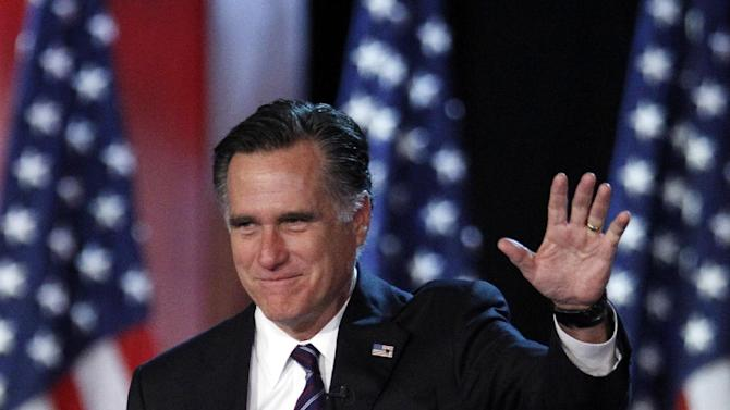 FILE - This Nov. 7, 2012 file photo shows Republican presidential candidate, former Massachusetts Gov. Mitt Romney waving to supporters at an election night rally in Boston. Romney's shadow looms over a GOP in disarray. Republican officials in Washington and elsewhere concede that Romney's immediate withdrawal from politics _ while welcome by most _ has created a leadership void, leaving the GOP rudderless and fighting with itself during what may be the most important policy debate in a generation.  (AP Photo/Stephan Savoia, File)