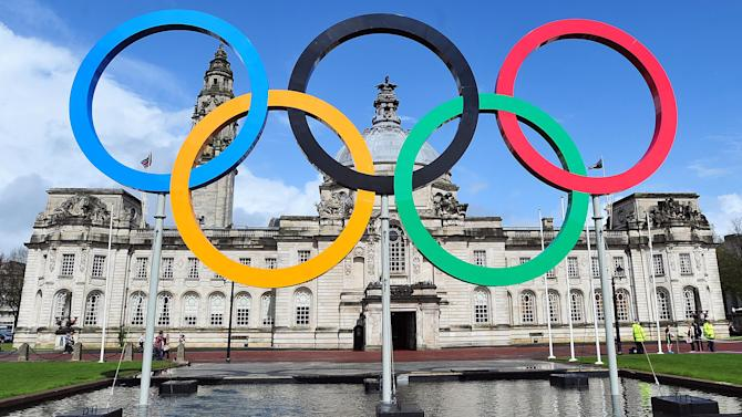 """A handout picture relseased by the London Organising Committee of the Olympic and Paralympic Games (LOCOG) on April 25, 2012 a set of Olympic rings unveiled outside Cardiff City Hall on April 25, 2012.  RESTRICTED TO EDITORIAL USE - MANDATORY CREDIT """" AFP PHOTO / LONDON 2012 """" - NO MARKETING NO ADVERTISING CAMPAIGNS - DISTRIBUTED AS A SERVICE TO CLIENTS-/AFP/GettyImages"""
