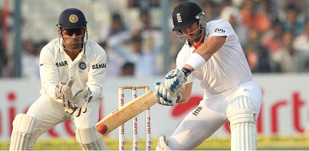Matt Prior bats on Day 1 of the fourth cricket Test match between India and England at Jamtha Stadium in Nagpur, Thursday, December 13 2012. (BCCI)