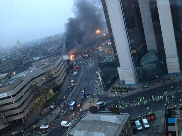 Smoke rises from the crash in Vauxhall (Victor Jimenez)