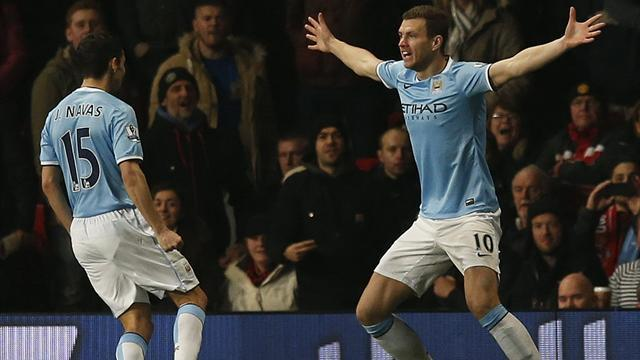 Premier League - Dzeko hits double as City cruise to derby win at United