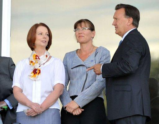 Australia's Prime Minister Julia Gillard (L) is shown in Canberra on January 29, 2013