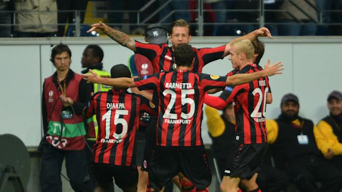 From left: Constant Djakpa ,  scorer Marco Russ, Tranquillo Barnetta, Sebastian Rode and Takashi Inui of Frankfurt jubilate after the second goal  during the UEFA Europa League Group F  soccer match between Eintracht Frankfurt and Girondins Bordeaux in Frankfurt, Germany,  Thursday Sept. 19, 2013