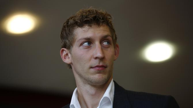 Soccer player Kiessling of Bayer 04 Leverkusen arrives for hearing at DFB sports court in Frankfurt