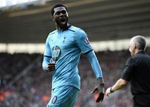 Tottenham Hotspur's Emmanuel Adebayor celebrates his goal against Southampton during their English Premier League soccer match at St Mary's stadium in Southampton