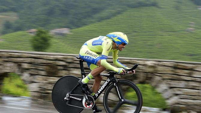 Tinkoff Saxo rider Contador of Spain competes during the 14th stage of the 98th Giro d'Italia (Tour of Italy) cycling race