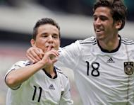 Rani Khedira (right) with Kaan Ayhan in a German Under-17 World Cup game against Brazil in Mexico City in 2011