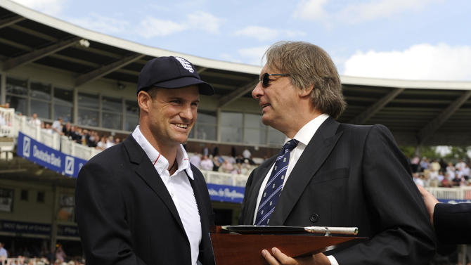 Giles Clarke, right, congratulates Andrew Strauss on reaching 100 Test matches earlier this month