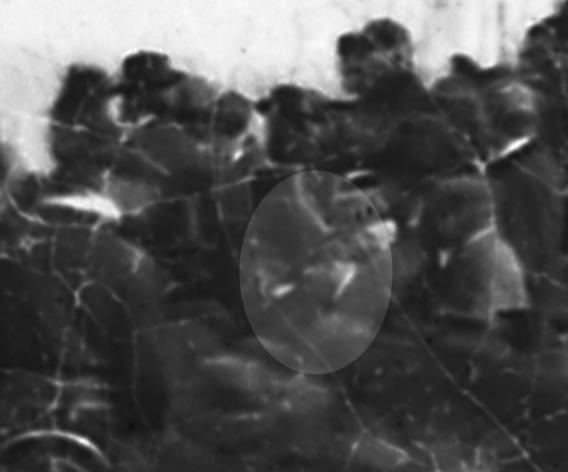This image allegedly shows Abraham Lincoln (highlighted in center) moments before delivering the Gettysburg Address in 1863.