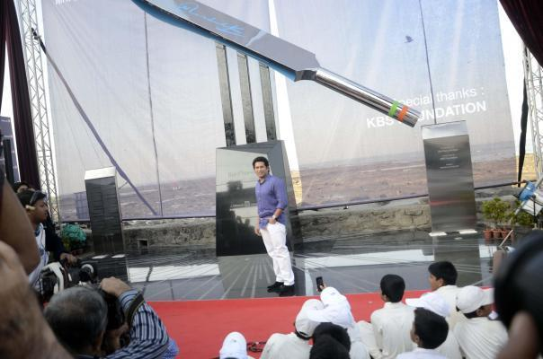 Cricket legend Sachin Tendulkar during a programme to unveil `Bat of Honour` a monument in the form of a large steel bat in Mumbai on Mar.2, 2014..`Bat of Honour`, installed on the Carter Road Promena