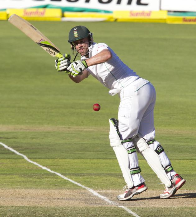 South Africa's de Villiers plays a shot during the third day of the second cricket test match against Australia in Port Elizabeth