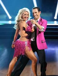 Chelsie Hightower and Helio Castroneves pose during Week 2 of 'Dancing with the Stars: All-Stars,' Oct. 1, 2012 -- ABC
