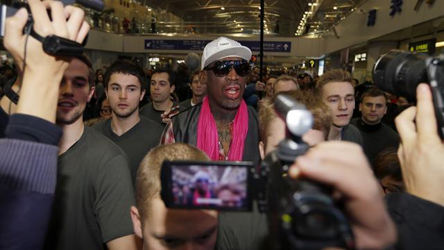 Basketball - Rodman lands in N.Korea for basketball on Kim's birthday