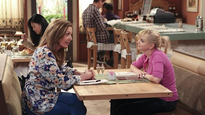 "This publicity image released by CBS shows Anna Faris, right, and Allison Janney in a scene from ""Mom,"" premiering Monday, Sept. 23 at 9:30 p.m. EST. (AP Photo/CBS, Monty Brinton)"