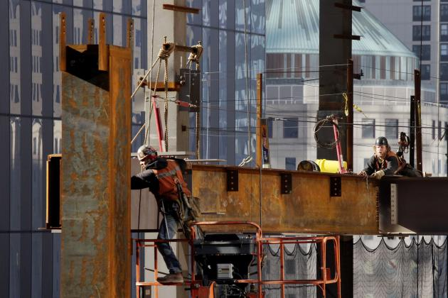 FILE- In this Dec. 14, 2012 file photo, ironworkers connect steel beams on 3 World Trade Center in New York. The Port Authority has come under criticism for proposing to commit more than $1 billion to