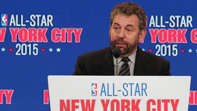 James L. Dolan, executive chairman of The Madison Square Garden Company, speaks during a press conference Wednesday Sept. 25, 2013, in New York, announcing the selection of the city to host the NBA All-Star game in 2015. The 64th NBA All-Star game is scheduled to be played at New York's Madison Square Garden Sunday Feb. 15, 2015 with Friday and Saturday night events being held at the Barclays Center in the Brooklyn borough of New York
