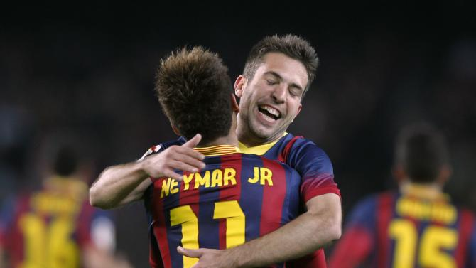 Barcelona's Neymar and Jordi Alba celebrate a goal against Villarreal during their Spanish First Division soccer match at Camp Nou stadium in Barcelona