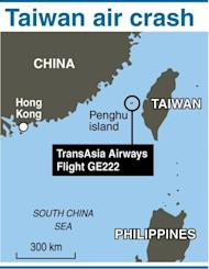 Map of Taiwan locating the cras of TransAsia flight GE222