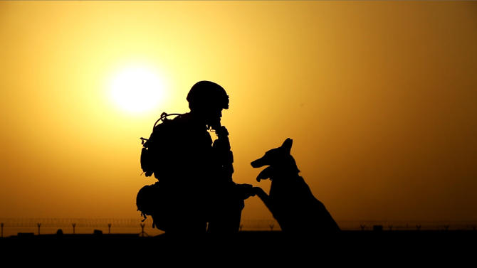 "This 2012 publicity photo provided by Animal Planet shows a soldier and military working dog, in Afghanistan. Animal Planet embedded four camera crews with front line troops for six weeks to create a television special called ""Glory Hounds,"" where each crew was assigned to a handler and his dog and the show set out to prove that dogs were more than military ""tools."" ""Glory Hounds"" airs Thursday, Feb. 21, 2013 at 8 p.m. ET/PT and repeats on Feb. 24 at 9 a.m. ET/PT. (AP Photo/Animal Planet)"