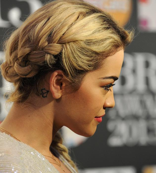 Rita Ora's fishtail plait could be seen from all angles ©Rex