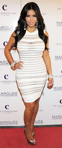 Kim Kardashian Wears Yet Another Tight, White Dress at Birthday Bash