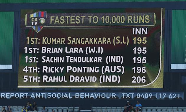 Kumar Sangakkara of Sri Lanka is acknowledged on the scoreboard after reaching tenthousand career runs during day one of the Second Test match between Australia and Sri Lanka at Melbourne Cricket Grou