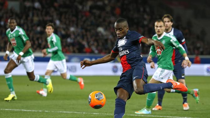 Paris St Germain's Blaise Matuidi prepares to kick the ball during their French Ligue 1 soccer match against St Etienne at the Parc des Princes Stadium in Paris