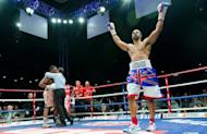 David Haye (R) celebrates as Dereck Chisora is assisted by the referee at the conclusion of the WBO International and WBA Intercontinental Heavyweight Championship fight at the West Ham football stadium in east London, on July 14. Haye won the bout in the fifth round by a knockout