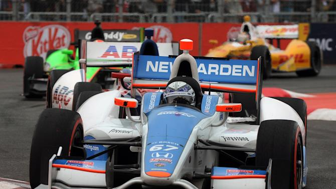 US driver Josef Newgarden, of Sarah Fisher Hartman team, powers his car during the Sao Paulo Indy 300 race, at the Sambodromo racertrack in Sao Paulo, Brazil on April 29, 2012. AFP PHOTO/Nelson AlmeidaNELSON ALMEIDA/AFP/GettyImages