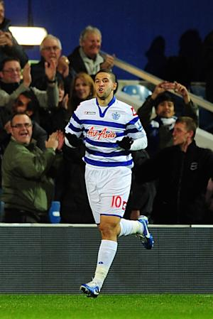 QPR's Adel Taarabt celebrates scoring against West Ham on Monday night