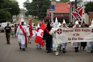 File photo shows members of the Fraternal White Knights of the Ku Klux Clan in the United States. The Ku Klux Klan wants to sponsor a stretch of US road to clean it up, creating a legal conundrum for local officials
