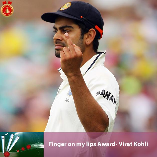 Finger on my lips Award- Virat Kohli