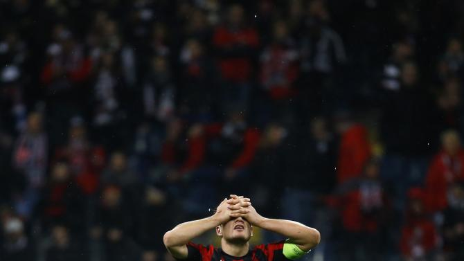 Eintracht Frankfurt's team captain Schwegler reacts after their Europa League soccer match against Porto in Frankfurt
