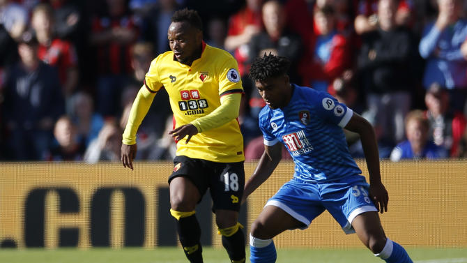 Watford's Juan Camilo Zuniga in action with Bournemouth's Jordon Ibe