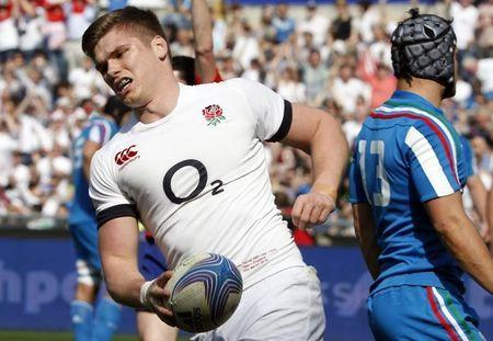 England's Farrell scores during match against Italy in their Six Nations rugby union match at Olympic Stadium in Rome