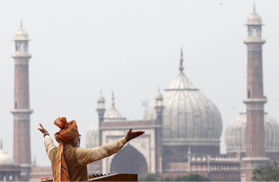 Indian Prime Minister Modi addresses the nation from the historic Red Fort during Independence Day celebrations in Delhi